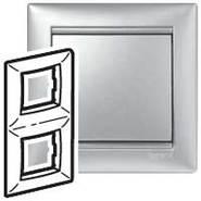 Рамка - Valena - 2 поста - вертикальный монтаж - алюминий