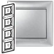 Рамка - Valena - 4 поста - вертикальный монтаж - алюминий